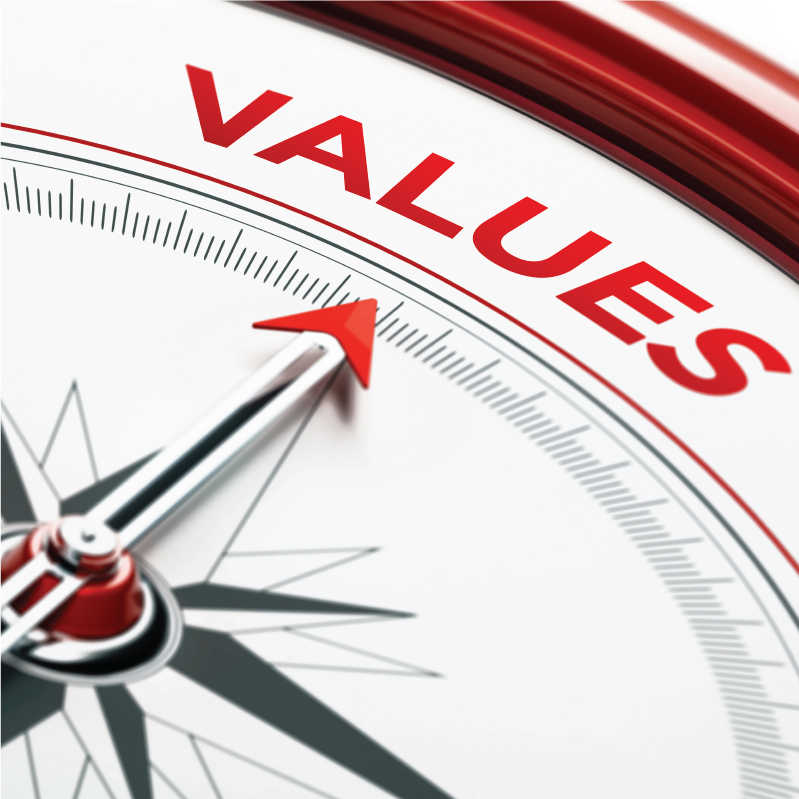 Compass pointing toward the word values